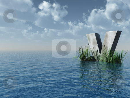 Letter V stock photo, Letter V rock in water landscape - 3d illustration by J?