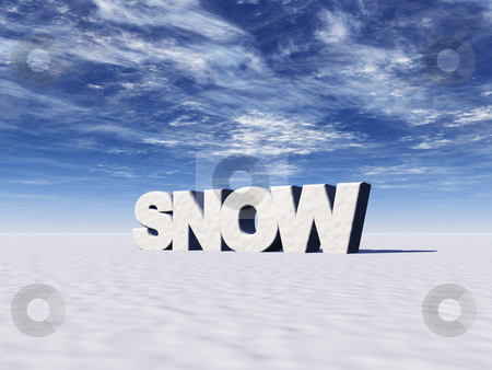 Snow stock photo, The word snow on white snowy layer - 3d illustration by J?