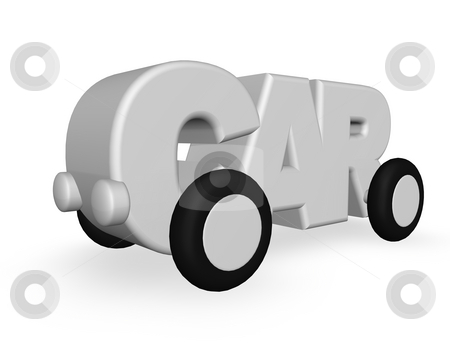 Car stock photo, The word car with wheels on white background - 3d illustration by J?