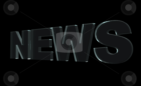 News stock photo, Glass news text on black background - 3d illustration by J?