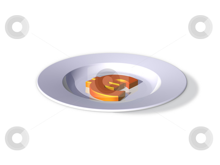 Eat the rich stock photo, White dinner plate and euro sign - 3d illustration by J?