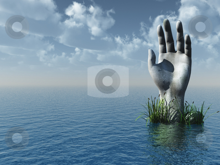 Stone hand stock photo, Stone hand at the ocean - 3d illustration by J?