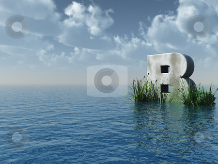 Letter B stock photo, Letter b rock in water landscape - 3d illustration by J?