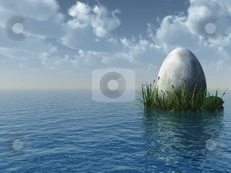 Stone egg stock photo, Stone egg at the ocean - 3d illustration by J?