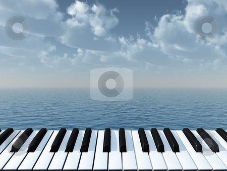 Piano stock photo, Piano keyboard and water landscape - 3d illustration by J?