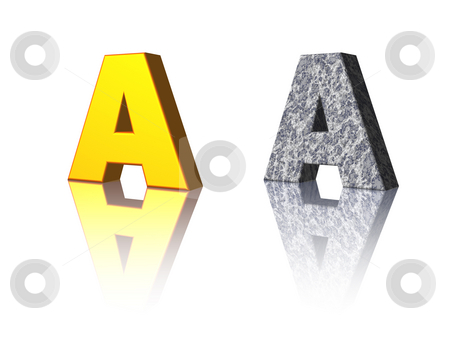 Letter A stock photo, The letter A in gold and stone on white background - 3d illustration by J?