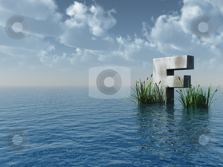 Letter F stock photo, Letter F rock in water landscape - 3d illustration by J?