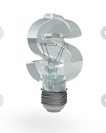 Dollar bulb stock photo, Light bulb with dollar sign glass - 3d illustration by J?