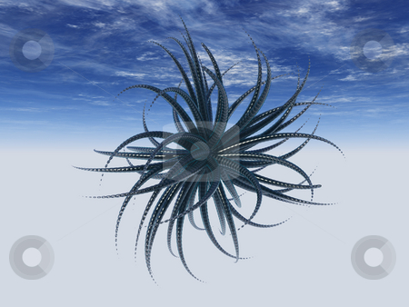 Tantacles stock photo, Abstract tentacles thing in front of blue sky - 3d illustration by J?