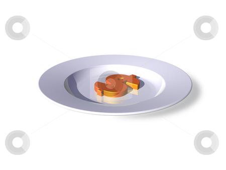 Eat the rich stock photo, White dinner plate and dollar sign - 3d illustration by J?