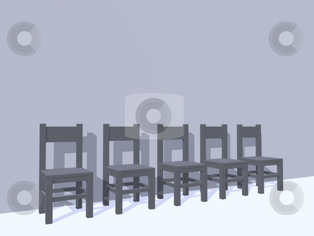 Wait stock photo, Row of chairs - 3d illustration by J?