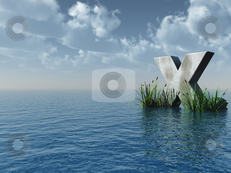 X rock stock photo, Letter X rock in water landscape - 3d illustration by J?