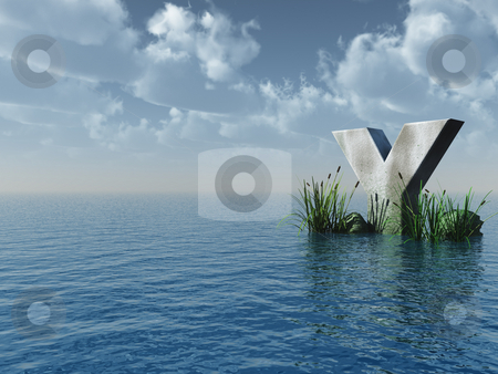 Y rock stock photo, Letter Y rock in water landscape - 3d illustration by J?
