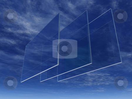 Glass stock photo, Three windowpanes float in the sky - 3d illustration by J?
