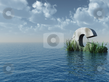 Letter C stock photo, Letter C rock in water landscape - 3d illustration by J?