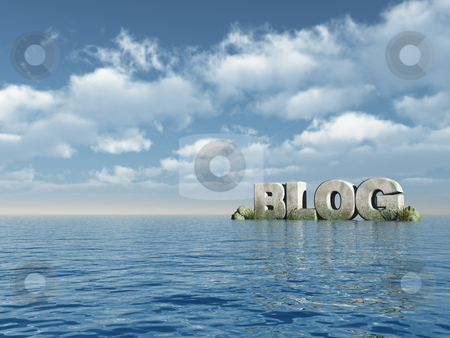 Blog stock photo, The word blog as stone at the ocean - 3d illustration by J?