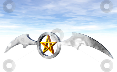 Pentagram stock photo, Ring with batwings and pentagram logo - 3d illustration by J?