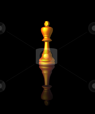 Chess king stock photo, Golden chess king on black background - 3d illustration by J?