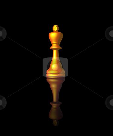 Chess king stock photo, Golden chess king on black background - 3d illustration by J?