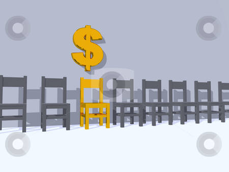Dollar stock photo, Row of chairs, one in yellow and dollar sign - 3d illustration by J?
