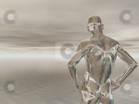 Chrome stock photo, Abstract man figure - 3d illustration by J?