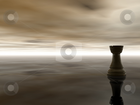 Chess rook stock photo, Black chess rook on cloudy stormy background - 3d illustration by J?