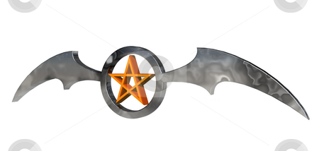 Pentagram stock photo, Ring with batwings and pentagram - 3d illustration by J?