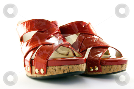 Red Shoes stock photo, Pair of platform heeled red shoes with clipping path on a white background by Keith Wilson