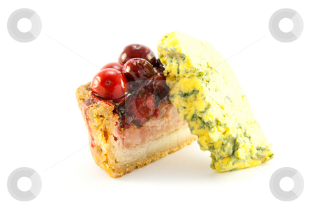 Slice of Pork Pie with Blue Cheese stock photo, Slice of pork pie and piece of blue cheese with clipping path on a white background by Keith Wilson