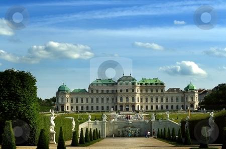 Castle in sunny evening stock photo, Huge castle with big garden in sunny day, Belveder in Vienna, Austria by Juraj Kovacik