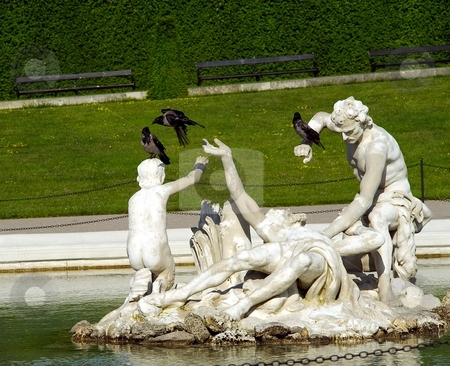 Fountain with birds stock photo, Fountain sculpture white statues with tree birds by Juraj Kovacik