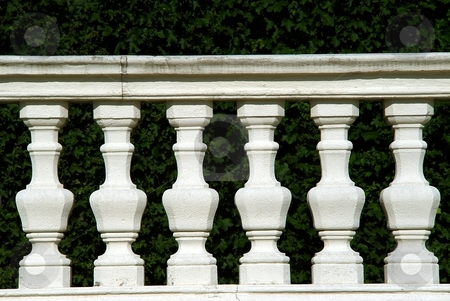 White stone fence detail stock photo, White stone fence detail with carved columns by Juraj Kovacik