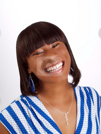 Young black woman with big smile portrait stock photo, Young African American woman with big smile portrait by Jeff Cleveland