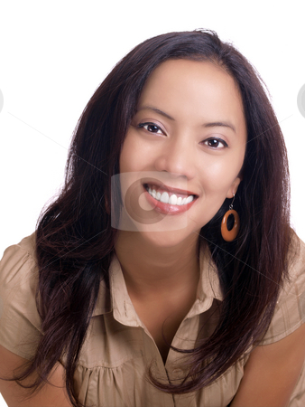 Smiling young hispanic woman portrait in brown top stock photo, Young latina woman smiling portrait in brown dress by Jeff Cleveland