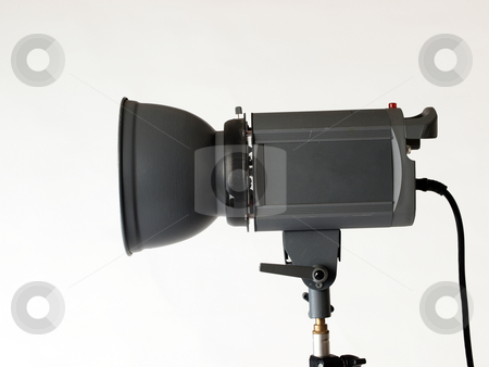 Profile view of studio monoligth strobe flash stock photo, Photography strobe flash unit from the side by Jeff Cleveland