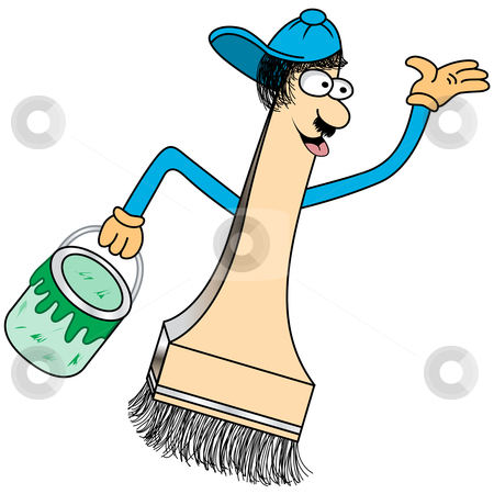 Paint Brush Cartoon Character stock vector clipart, Paint brush cartoon character with a funny face and baseball cap holding a green pot of paint. by toots77