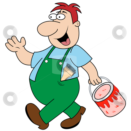 Workman Carrying Paint Pot stock vector clipart, Happy painter and decorator cartoon character walking to his next job holding a pot of red paint. Paint brush stuck down his overalls. by toots77