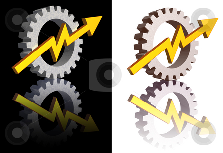 Industry graph stock photo, Gear-graph logos on black and white background - 3d illustration by J?