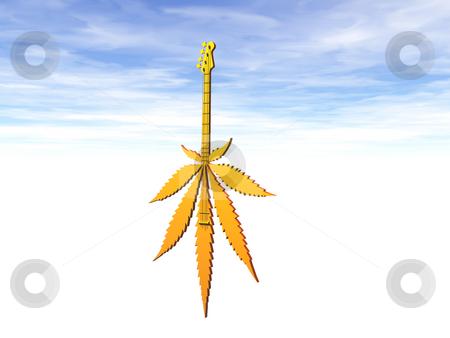 Stoner rock stock photo, Golden hemp guitar on cloudy sky - 3d illustration by J?