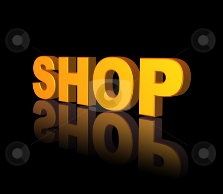 Shop stock photo, Golden shop text on black background - 3d illustration by J?