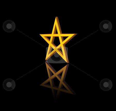 Pentagram stock photo, Golden pentagram on black background - 3d illustration by J?