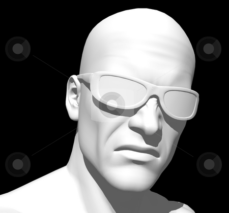 Head stock photo, White human head on black background - 3d illustration by J?