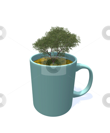 Tree in mug stock photo, Mug with tree on white background - 3d illustration by J?