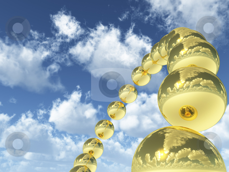 Bubbles stock photo, Glass bubbles in the sky - 3d illustration by J?