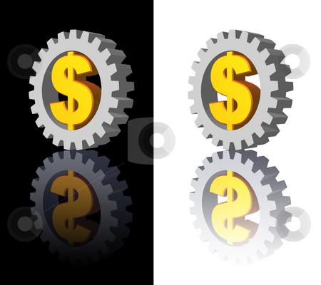 Dollar gear stock photo, Dollar sign and gear wheel -3d illustration by J?