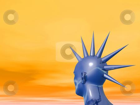 Mohawk stock photo, Blue strange head in mohawk style - 3d illustration by J?