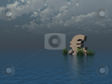Euro stock photo, Euro symbol monument at the ocean - 3d illustration by J?