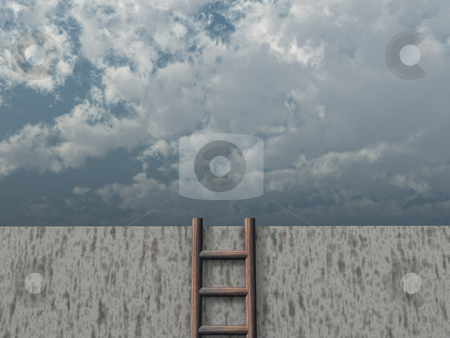 Free stock photo, Ladder on wall in front of cloudy sky - 3d illustration by J?