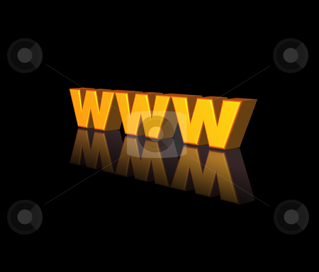 Www stock photo, Golden www letters on black background - 3d illustration by J?