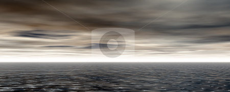 Stormy stock photo, Stormy water landscape - 3d illustration by J?